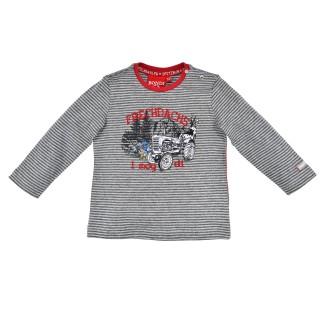 T-Shirt langarm geringelt ´Frechdachs´ stripe grey/anthra